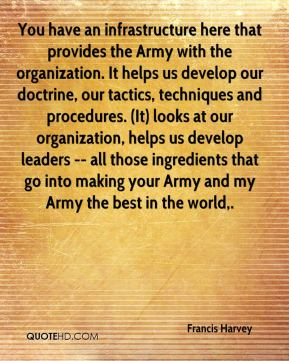 Francis Harvey - You have an infrastructure here that provides the Army with the organization. It helps us develop our doctrine, our tactics, techniques and procedures. (It) looks at our organization, helps us develop leaders -- all those ingredients that go into making your Army and my Army the best in the world.