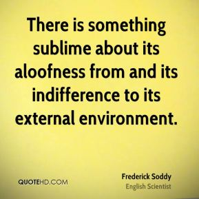 Frederick Soddy - There is something sublime about its aloofness from and its indifference to its external environment.