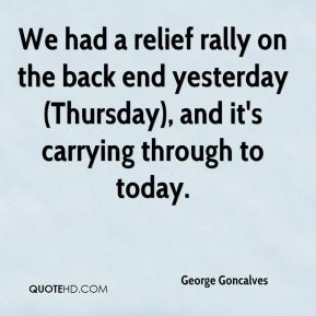 George Goncalves - We had a relief rally on the back end yesterday (Thursday), and it's carrying through to today.