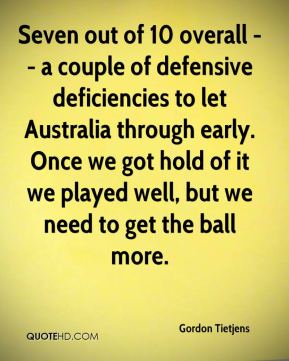 Seven out of 10 overall -- a couple of defensive deficiencies to let Australia through early. Once we got hold of it we played well, but we need to get the ball more.