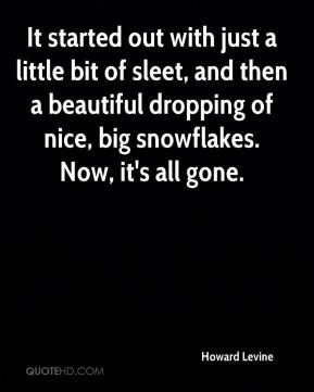 Howard Levine - It started out with just a little bit of sleet, and then a beautiful dropping of nice, big snowflakes. Now, it's all gone.