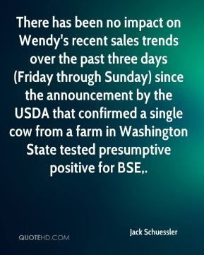 Jack Schuessler - There has been no impact on Wendy's recent sales trends over the past three days (Friday through Sunday) since the announcement by the USDA that confirmed a single cow from a farm in Washington State tested presumptive positive for BSE.