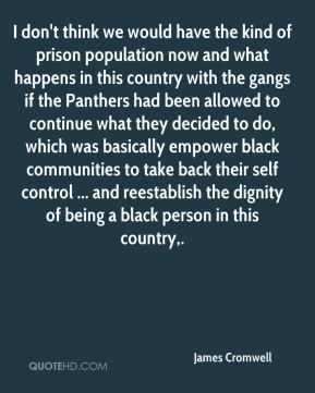 James Cromwell - I don't think we would have the kind of prison population now and what happens in this country with the gangs if the Panthers had been allowed to continue what they decided to do, which was basically empower black communities to take back their self control ... and reestablish the dignity of being a black person in this country.