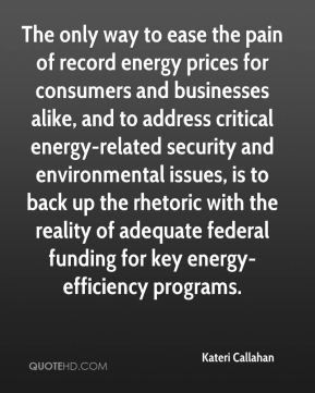 Kateri Callahan  - The only way to ease the pain of record energy prices for consumers and businesses alike, and to address critical energy-related security and environmental issues, is to back up the rhetoric with the reality of adequate federal funding for key energy-efficiency programs.