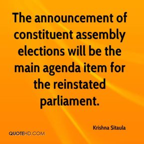Krishna Sitaula  - The announcement of constituent assembly elections will be the main agenda item for the reinstated parliament.
