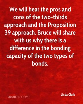 Linda Clark  - We will hear the pros and cons of the two-thirds approach and the Proposition 39 approach. Bruce will share with us why there is a difference in the bonding capacity of the two types of bonds.