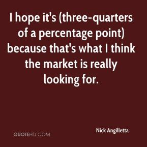 Nick Angilletta  - I hope it's (three-quarters of a percentage point) because that's what I think the market is really looking for.