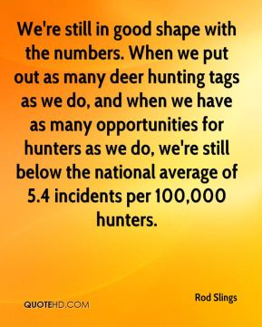 Rod Slings  - We're still in good shape with the numbers. When we put out as many deer hunting tags as we do, and when we have as many opportunities for hunters as we do, we're still below the national average of 5.4 incidents per 100,000 hunters.
