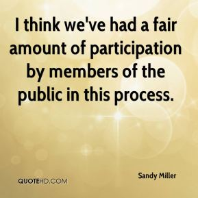 Sandy Miller  - I think we've had a fair amount of participation by members of the public in this process.