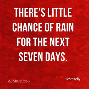 There's little chance of rain for the next seven days.