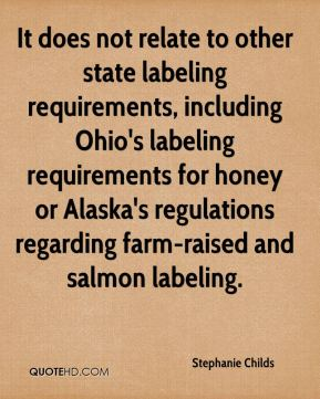 It does not relate to other state labeling requirements, including Ohio's labeling requirements for honey or Alaska's regulations regarding farm-raised and salmon labeling.