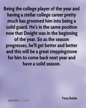 Tony Battie  - Being the college player of the year and having a stellar college career pretty much has groomed him into being a solid guard. He's in the same position now that Dwight was in the beginning of the year. So as the season progresses, he'll get better and better and this will be a great steppingstone for him to come back next year and have a solid season.