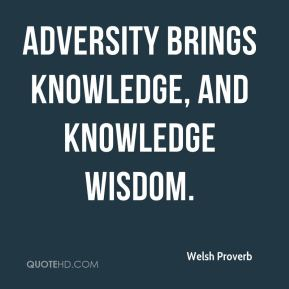 Welsh Proverb  - Adversity brings knowledge, and knowledge wisdom.