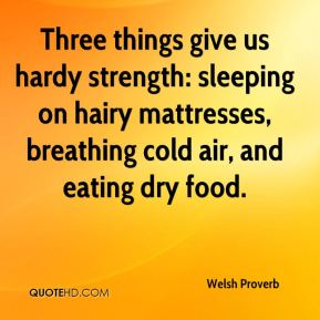 Welsh Proverb  - Three things give us hardy strength: sleeping on hairy mattresses, breathing cold air, and eating dry food.