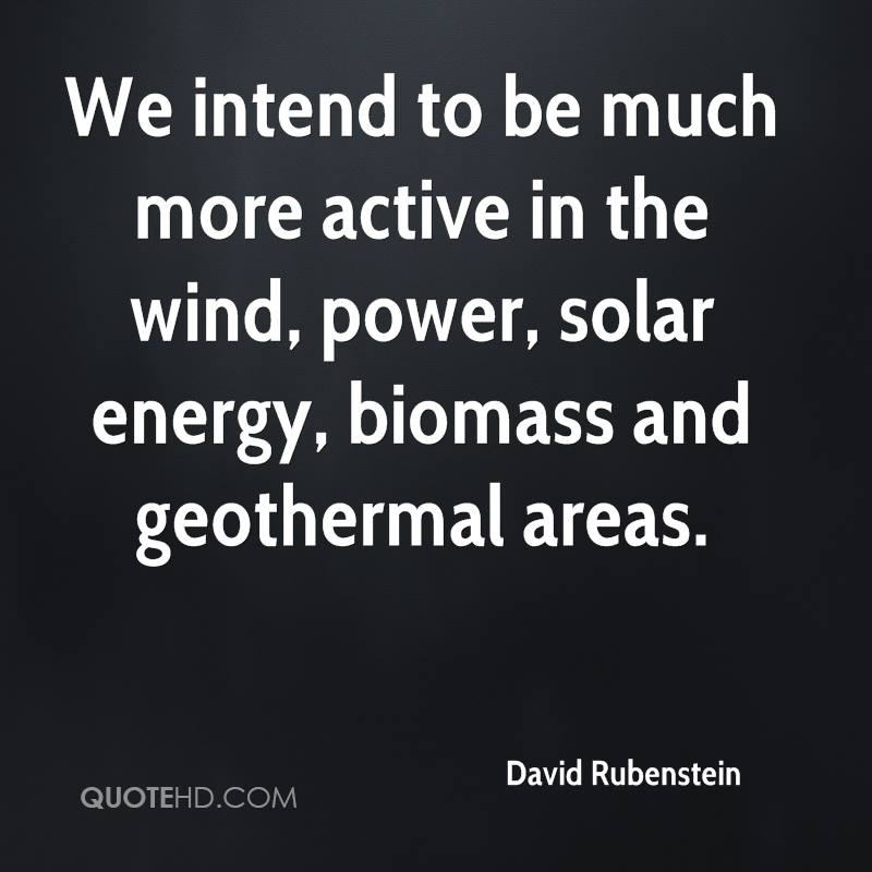 We intend to be much more active in the wind, power, solar energy, biomass and geothermal areas.