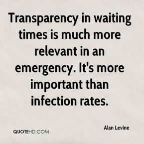Alan Levine - Transparency in waiting times is much more relevant in an emergency. It's more important than infection rates.