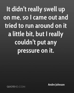 Andre Johnson - It didn't really swell up on me, so I came out and tried to run around on it a little bit, but I really couldn't put any pressure on it.