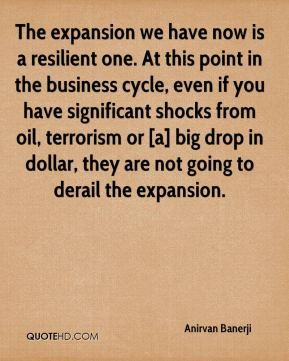 Anirvan Banerji - The expansion we have now is a resilient one. At this point in the business cycle, even if you have significant shocks from oil, terrorism or [a] big drop in dollar, they are not going to derail the expansion.