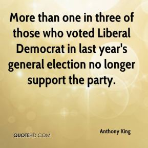 Anthony King - More than one in three of those who voted Liberal Democrat in last year's general election no longer support the party.