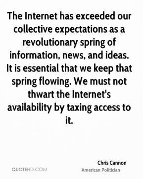 Chris Cannon - The Internet has exceeded our collective expectations as a revolutionary spring of information, news, and ideas. It is essential that we keep that spring flowing. We must not thwart the Internet's availability by taxing access to it.