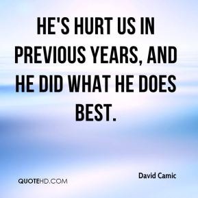 David Camic - He's hurt us in previous years, and he did what he does best.