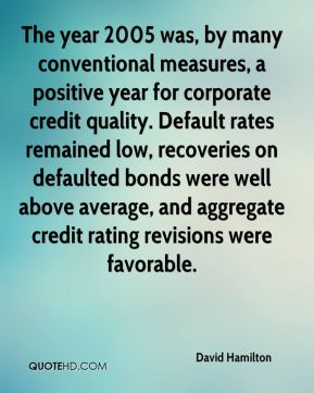 David Hamilton - The year 2005 was, by many conventional measures, a positive year for corporate credit quality. Default rates remained low, recoveries on defaulted bonds were well above average, and aggregate credit rating revisions were favorable.