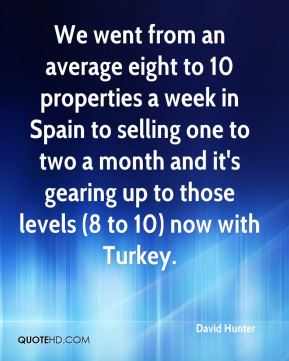 David Hunter - We went from an average eight to 10 properties a week in Spain to selling one to two a month and it's gearing up to those levels (8 to 10) now with Turkey.