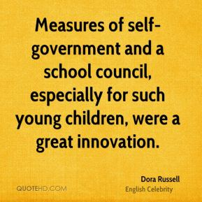 Measures of self-government and a school council, especially for such young children, were a great innovation.