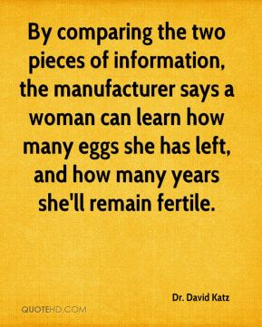 Dr. David Katz - By comparing the two pieces of information, the manufacturer says a woman can learn how many eggs she has left, and how many years she'll remain fertile.