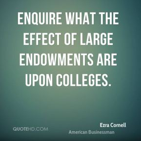 Enquire what the effect of large endowments are upon colleges.