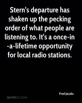 Fred Jacobs - Stern's departure has shaken up the pecking order of what people are listening to. It's a once-in-a-lifetime opportunity for local radio stations.