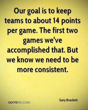 Our goal is to keep teams to about 14 points per game. The first two games we've accomplished that. But we know we need to be more consistent.