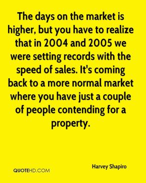 Harvey Shapiro - The days on the market is higher, but you have to realize that in 2004 and 2005 we were setting records with the speed of sales. It's coming back to a more normal market where you have just a couple of people contending for a property.