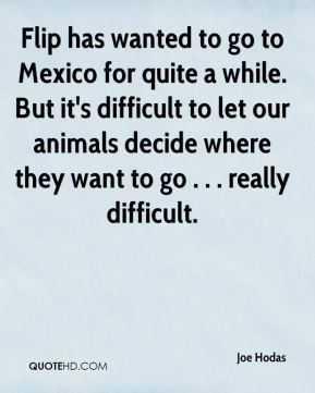 Joe Hodas  - Flip has wanted to go to Mexico for quite a while. But it's difficult to let our animals decide where they want to go . . . really difficult.