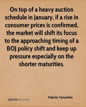 Makoto Yamashita  - On top of a heavy auction schedule in January, if a rise in consumer prices is confirmed, the market will shift its focus to the approaching timing of a BOJ policy shift and keep up pressure especially on the shorter maturities.