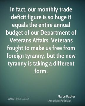 Marcy Kaptur - In fact, our monthly trade deficit figure is so huge it equals the entire annual budget of our Department of Veterans Affairs. Veterans fought to make us free from foreign tyranny, but the new tyranny is taking a different form.