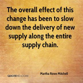 Martha Rowe Mitchell  - The overall effect of this change has been to slow down the delivery of new supply along the entire supply chain.