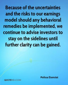 Because of the uncertainties and the risks to our earnings model should any behavioral remedies be implemented, we continue to advise investors to stay on the sidelines until further clarity can be gained.