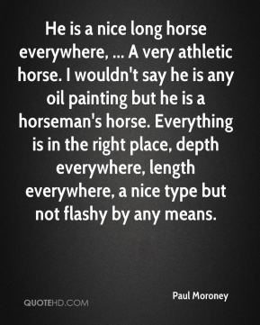 Paul Moroney  - He is a nice long horse everywhere, ... A very athletic horse. I wouldn't say he is any oil painting but he is a horseman's horse. Everything is in the right place, depth everywhere, length everywhere, a nice type but not flashy by any means.