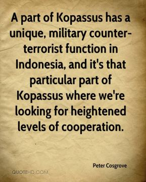 Peter Cosgrove  - A part of Kopassus has a unique, military counter-terrorist function in Indonesia, and it's that particular part of Kopassus where we're looking for heightened levels of cooperation.