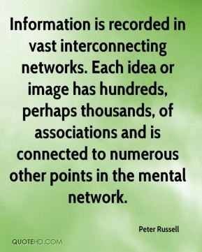Peter Russell  - Information is recorded in vast interconnecting networks. Each idea or image has hundreds, perhaps thousands, of associations and is connected to numerous other points in the mental network.