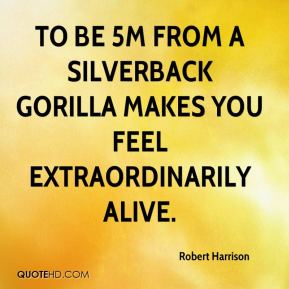 Robert Harrison  - To be 5m from a silverback gorilla makes you feel extraordinarily alive.