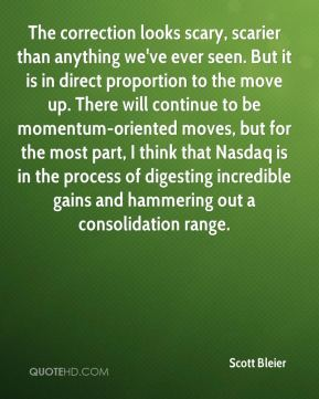 Scott Bleier  - The correction looks scary, scarier than anything we've ever seen. But it is in direct proportion to the move up. There will continue to be momentum-oriented moves, but for the most part, I think that Nasdaq is in the process of digesting incredible gains and hammering out a consolidation range.