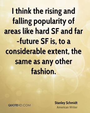 I think the rising and falling popularity of areas like hard SF and far-future SF is, to a considerable extent, the same as any other fashion.