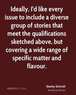 Stanley Schmidt - Ideally, I'd like every issue to include a diverse group of stories that meet the qualifications sketched above, but covering a wide range of specific matter and flavour.