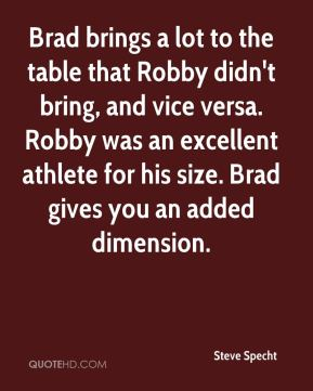 Brad brings a lot to the table that Robby didn't bring, and vice versa. Robby was an excellent athlete for his size. Brad gives you an added dimension.