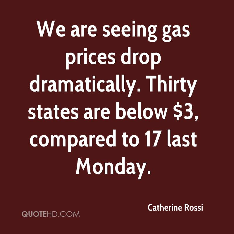 We are seeing gas prices drop dramatically. Thirty states are below $3, compared to 17 last Monday.