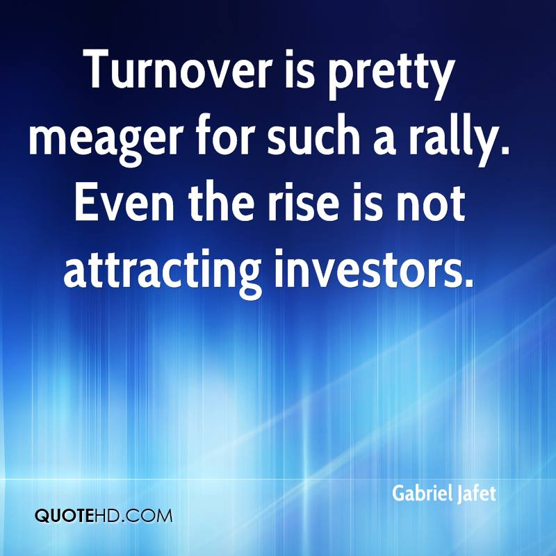 Turnover is pretty meager for such a rally. Even the rise is not attracting investors.
