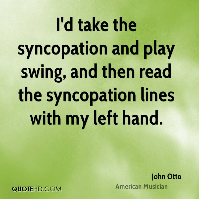 I'd take the syncopation and play swing, and then read the syncopation lines with my left hand.