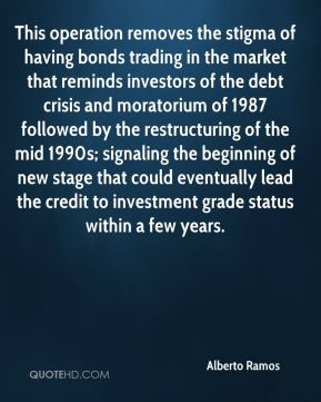 Alberto Ramos - This operation removes the stigma of having bonds trading in the market that reminds investors of the debt crisis and moratorium of 1987 followed by the restructuring of the mid 1990s; signaling the beginning of new stage that could eventually lead the credit to investment grade status within a few years.